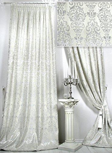 Trendoro 1 Vorhangschal Château Royal, 150 x 260 cm. Veloursoptik, champagnerfarbig mit silbernen Ornamenten. Blickdicht. Ateliergefertigt