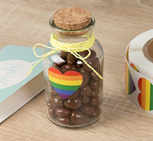 Juvale Gay Pride Self Adhesive Sticker Roll Rainbow Heart (1.5 x 1.7 in 1000 Pack) |