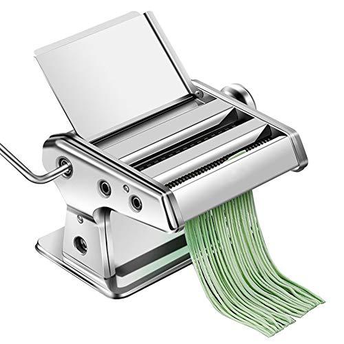 Pastamaker roestvrijstalen deegwarenmachine met 2 messen deegroller voor spaghetti en lasagne tagliatelle fettuccine, knoedel huid machine,Silver