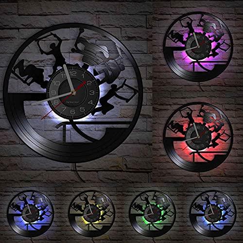 hhhjjj Freestyle Stunt Scooter Tricks Shadow Art Reloj de Pared Adecuado para Adolescentes habitación Grabado Scooter Montar Vinilo Reloj de Pared