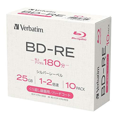 【Amazon.co.jp限定】Verbatim バーベイタム くり返し録画用 ブルーレイディスク BD-RE 25GB 10枚 1-2倍速 シルバーレーベル 5mmプラケース インデックスカード付き VBE130N10L-A