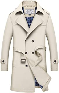 Men Coat ,Slim Fit Trench Double Breasted Long Parka Jacket Notched Overcoat Casual Lightweight Parka Trench Blazer Outerwear (Color : Khaki, Size : M)