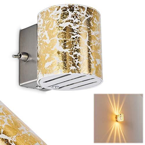 Aplique con efecto Up&Down Bamako de vidrio - Gran diseño con estructura color dorado - Aplique con efecto luz para dormitorio, salón, vestíbulo - Aplique con interruptor