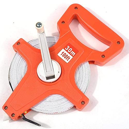BJH Regla de Estante de Acero/ABS portátil 30M 50M 100M Cinta métrica de Acero de Carrete Abierto con Estante para Herramienta de construcción de carpintería (Tamaño: 30M)