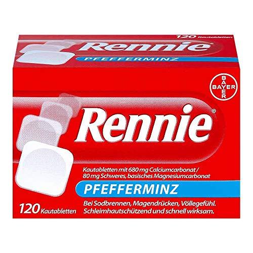Rennie Pfefferminz lindern Sodbrennen und säurebedingte Magenbeschwerden, 120 Kautabletten