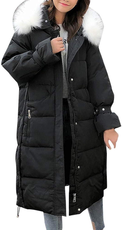 Hunzed women coat Warm Winter Hooded Button Long Coat Cotton LongSleeved Jacket (Medium, Black)