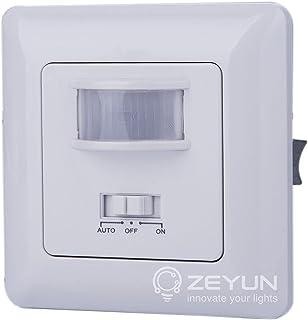 ZEYUN Interruptor del sensor, PIR y detección de voz para cambiar las luces, 140 grados, rango de detección de 10 metros, ...