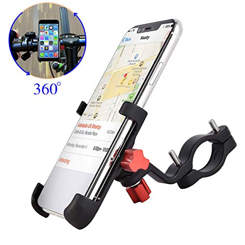 """ENONEO Fahrrad Handyhalterung Universal Aluminium Motorrad Halterung Handy mit 360° Drehbar Anti-Fall Handyhalter Fahrrad für iPhone Samsung Huawei (Handy Breite 2.16-3.74\"""") (Schwarz)"""