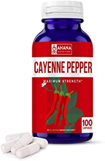 Ahana Nutrition Cayenne Pepper Capsules 450mg - Aids Weight Loss, Supports Circulation & Helps to Suppress Appetite (100)