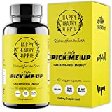 Natural Energy Supplement – HAPPY HEALTHY HIPPIE Plant Based Caffeine Free Energy Pills for Metabolism, Mental Power & Happiness - 7 Herbs & Absorption Enhancing Piperine – Vegan, Non-GMO, 60 Pills