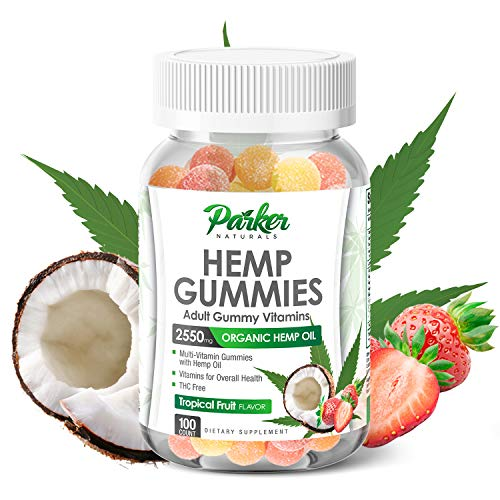 Organic Hemp Oil Gummies in Big 100 Count Bottle. 2550mg Multivitamin with Daily 51mg Hemp Oil, Vitamin A, C, B12, Biotin, Zinc. Supports Pain Relief, Soothes Anxiety, Relaxation, Improved Wellness