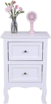Bedside Cabinets   1 PC Country Style Two-Tier Night Tables Large Size White   2 Drawer Bedside Tables Cabinets