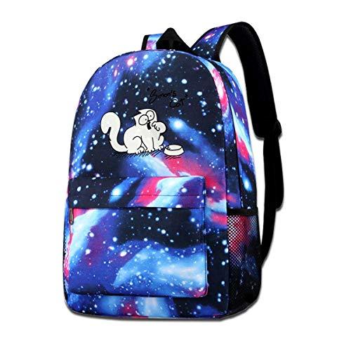 dsgsd Schultasche Cute Simon_s_Cat Starry Sky Book Bag Quality Big Galaxy Backpack