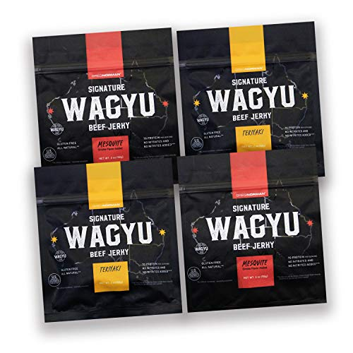Greg Norman Signature Wagyu Beef Jerky - Variety 4 pack Two Ounce Bags - All Natural Gluten Free Protein Beef Snacks   100% Australian Wagyu Beef