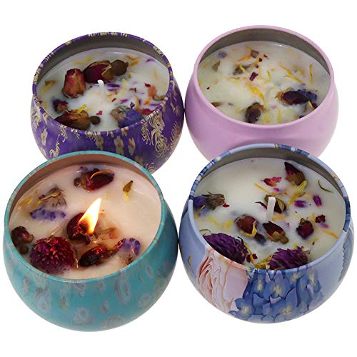 DDD1234 Scented Candles,Scented Candles Gift 4 Pack Set with Portable Metallic Tins and Petals for Stress Relief,Suitable for Festival Gift