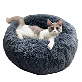 Fluffy Faux Fur Dog Bed Sofa Donut Calming Pet Bed Cushion Deep Gray Dog Beds Extra Large Snuggly Pet Throw Blanket(40 cm - 120 cm in Diameter),L:70CM