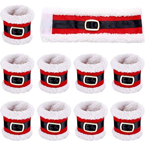 Leinuosen 10 Pieces Christmas Napkin Rings Holders Napkin Band with Santa Belt Design for Party Dinner Table Decoration