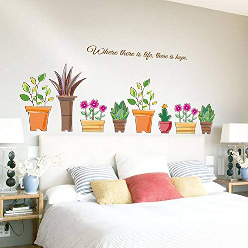 GUDOJK Muursticker, potplanten, wandsticker, bloemen, woonkamer, slaapkamer, ramen, badkamer, sticker, wooncultuur, zelfklevende folie
