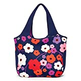 BUILT NY Essential Neoprene Shopping Tote Bag, Lush Flower Blue