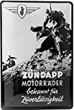 Blechschild 20x30 Zündapp DB 200 W 1939 2-Takt Motorrad Beiwagen Gespann Militär Deutschland im Retro Vintage Nostalgie Design