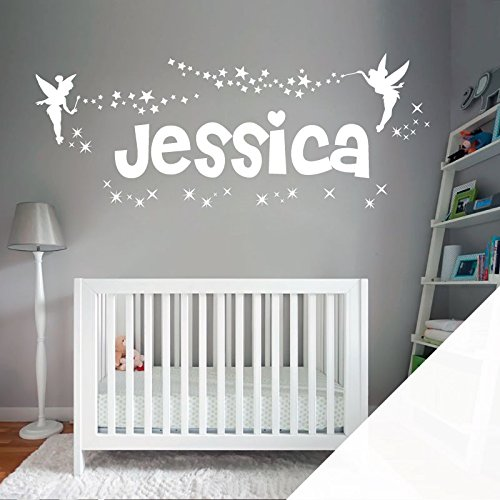 Personalised Name Girls Wall Art Sticker - Fairies Fairy Tinkerbell Stars - [ Just message us with the name! ] by Wall Designer