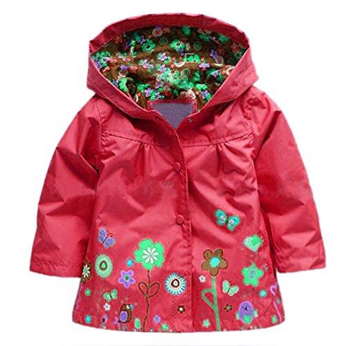 Wasserdichter Arshiner-Regenmantel mit Kapuze - für kleine Mädchen Gr. 130 cm(Alter Für 5-6 Jahre), rot
