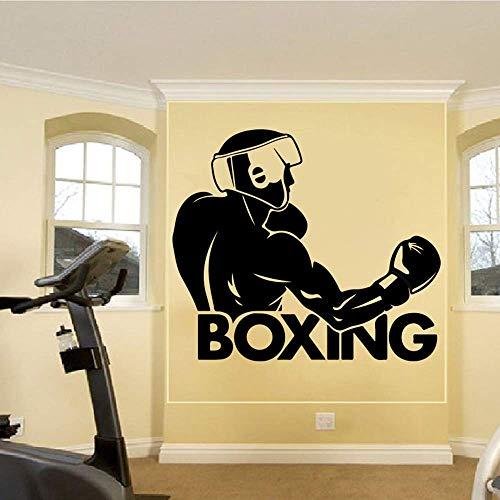 Boxer Muursticker Boksen Word Boxer Fight Club Sport Muursticker Jongen kamer Box Gym Workout 89X77Cm