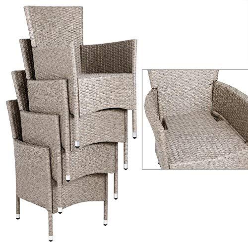 Deuba Poly Rattan Sitzgruppe Grau Beige 6 Stapelbare Stühle 1 Tisch 7cm Dicke Auflagen Sitzgarnitur Gartenmöbel Garten - 3
