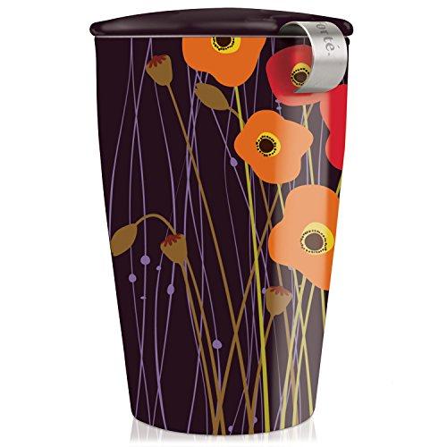 Tea Forte Kati Cup Taza de infusión de té de cerámica con Cesta de infusor y Tapa para remojar, Campos De Amapolas (Cocina)