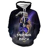 GEZIBABA 3D Hombres NBA Lakers Kobe Bryant Impreso Pullover Cómoda Camiseta Deportiva T-Shirt De Baloncesto -A_XL