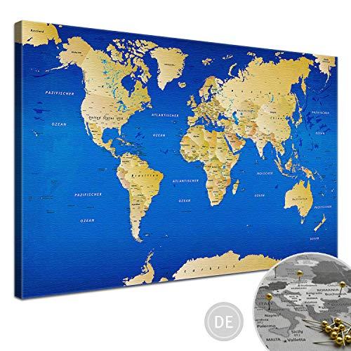 "LANA KK - Weltkarte Leinwandbild - Kork Pinnwand zum pinnen Deiner Reiseziele – ""Weltkarte Blau"" - deutsch - Kunstdruck Globus in blau, fertig gerahmt in 100x70cm"