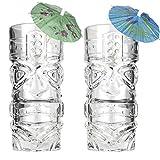 Premium Tiki Glass Set of 2 with Bonus Cocktail Umbrellas