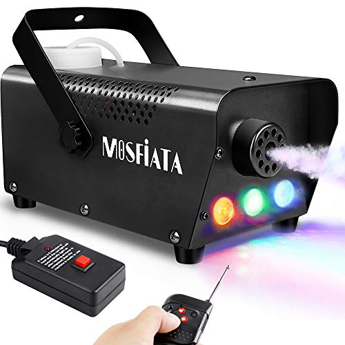MOSFiATA Fog Machine with Controllable Lights, 500W Professional DJ LED Smoke Machine 3 Color Light with Wireless Remote Control and Wired Control 2000 CFM Huge Fog for Halloween Holidays Parties