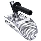 CKG Sand Scoop for Metal Detecting, Stainless Steel with Hexahedron 7mm Holes for Beach Treasure Hunting + Plastic Handle