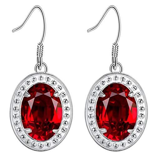 Daesar Earrings Drop For Women, White Gold Plated Drop Earrings Oval Cubic Zirconia Red Drop Earrings Silver
