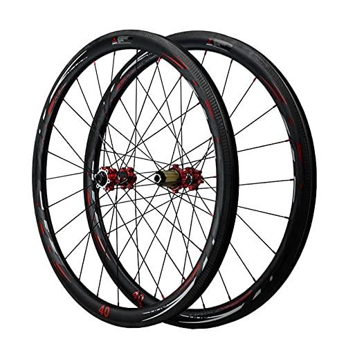 Zyy 700c Wheelset Ruote in carbonio Road Disc Brake Profondità Clincher Tubeless Ready Wheelset 25mm Larghezza asse passante 7 8 9 10 11 12 velocità ruote (colore : nero, Dimensioni: 55MM)