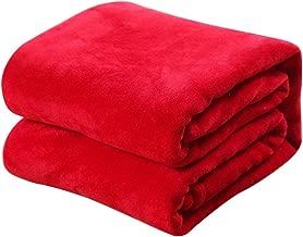 Momorain Cómoda Súper Suave Mantener Cálida Manta de Franela Gran tamaño Color sólido Sofá para el hogar Ropa de Cama Manta de automóvil de Oficina Textiles para el hogar (Color: Rojo)