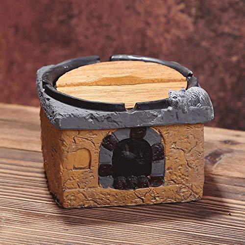 Suytan Cenicero Creativo Ceniceros de Cocina para Cigarrillos, Arte Clásico Cemento Cenicero Organizador, Retro Simple a Prueba de Viento con Tapa, Cenicero de Decoración de Escritorio