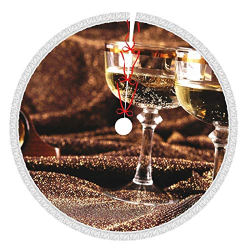Perfect household goods Tassel Christmas Tree Skirts 36 Inch Champagne Glasses Silk Watch White Tree Skirts for Xmas Year Party Holiday Home Decorations