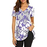 Summer Tops for Women Sexy Tunics for Women Summer,Short Sleeve Round Neck Gradient Printed Loose Tunic Tops Plus Size Blouse