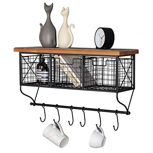 Amazon Brand - Estantería de pared Umi industrial con gancho para cesta, estante de almacenamiento colgante para la organización del bar de café y decoración del hogar, metal y madera, color negro