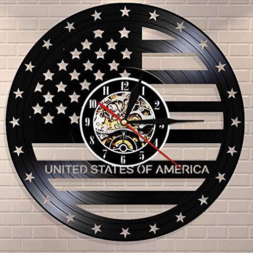 suwhao Hohl Usa Flagge Schallplatte Uhr Unabhängigkeitstag Geschenk Wanduhr Sterne Streifen Flagge Form Antike Moderne Usa Uhr 30X30 cm