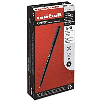 uni-ball ONYX Rollerball Pen Micro Point  0.5mm  Black 12 Count
