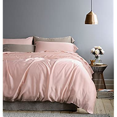 Eikei Solid Color Egyptian Cotton Duvet Cover Luxury Bedding Set High Thread Count Long Staple Sateen Weave Silky Soft Breathable Pima Quality Bed Linen (Queen, Rose Gold)