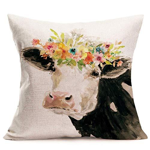 Pintura Vaca lechera Fundas Almohada Animales adorables Guirnalda Flores Fundas Cojines Fundas Cojines Silla rústica Funda Almohada Cuadrada 18 '