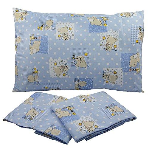 Mafalda Drap-housse pour lit 30 x 70 cm – Toile imprimée – Couleurs : rose/bleu/jaune fantaisie ourson – 100 % coton – Fabriqué en Italie (bleu)