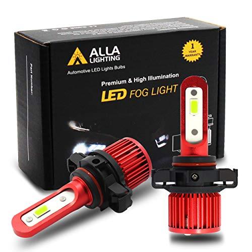 Alla Lighting 5200lm AL-R 12276 PSX24W 2504 LED Ice Blue Fog Lights Bulbs Xtremely Super Bright 2504 PSX24W LED Bulb 12V LED 2504 PSX24W Fog Light Bulbs Replacement for Cars, Trucks