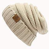 Lhbin Winter Markenkappe Damen warme Wintermütze Frauen Mädchen Hut Strickmütze Dicke Damen Mütze-W1546-Beige