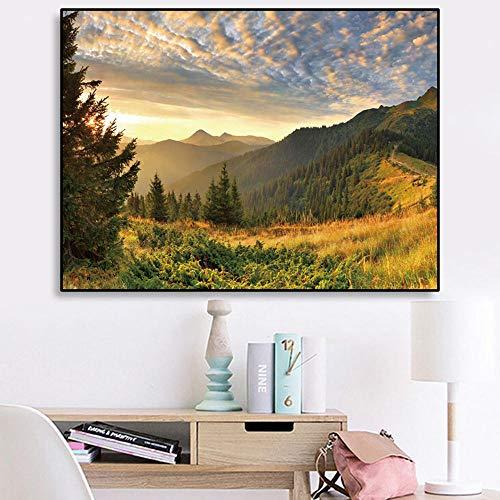 VVSUN Pintura en Lienzo de Paisaje de Bosque de montaña, Impresiones y Carteles de paisajes Naturales, imágenes artísticas de Pared para la decoración de la Sala de Estar; 60x80cm (sin Marco)