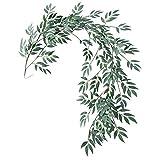 Vaorwne 1.8M Artificielle Faux Eucalyptus Saule Feuilles Plantes Vertes De Mariage Décor De DIY Fleurs Plante Feuille Simulation Rotin Décor à la Maison Simulation Rotin Grisatre Blanc